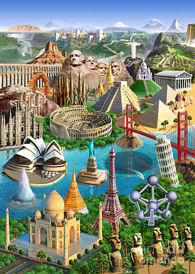 Wonders Of The World Poster by Adrian Chesterman