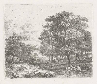 Wooded Landscape With Two Men Conversing Poster by Hermanus Jan Hendrik Van Rijkelijkhuysen