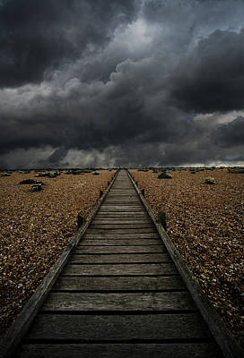 Wooden Path In The Wilderness. Dramatic Sky In The Background Poster by Jaroslaw Blaminsky