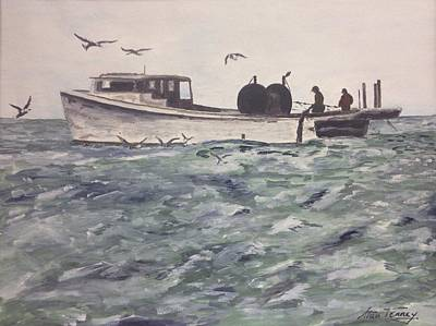 Poster featuring the painting Workboat by Stan Tenney