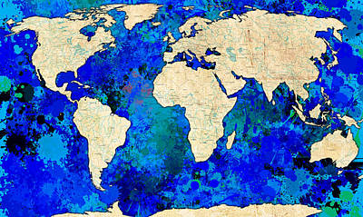 World Map Blue Poster by Gary Grayson