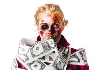 Worried Zombie With Dollar Bills Poster