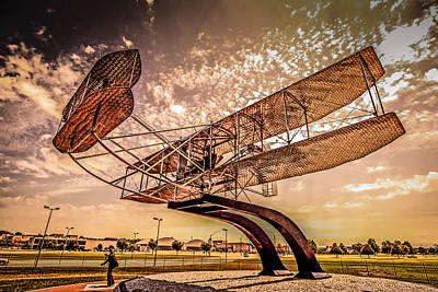 Wright Flyer At Sunset Poster