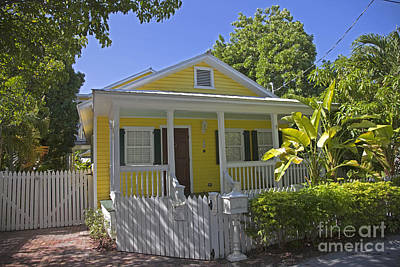 Yellow Key West Florida Cottage Poster