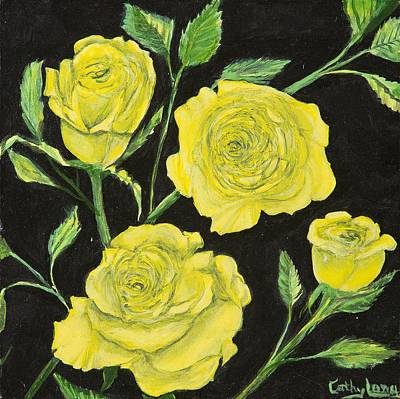 Poster featuring the painting Yellow Roses by Cathy Long