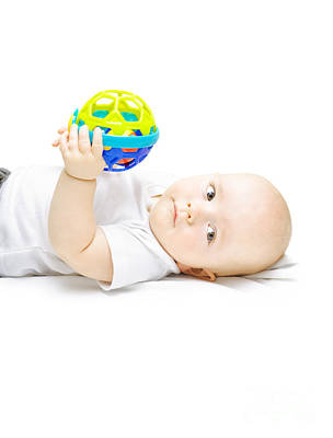 Young Baby Playing With Educational Toy Poster