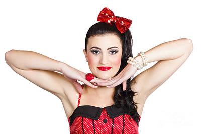 Young Beautiful Caucasian Pin Up Woman Posing Poster