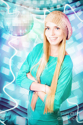 Young Blonde Party Woman At Winter Disco Event Poster