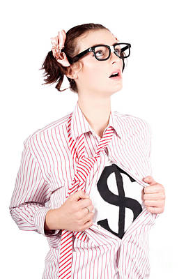 Young Businesswoman Super Hero Showing Dollar Sign Poster by Jorgo Photography - Wall Art Gallery