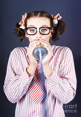 Young Businesswoman Talking On Homemade Can Phone Poster