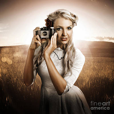 Young Female Photographer With Vintage Camera Poster