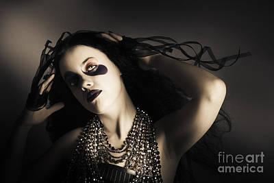 Young Grunge Fashion Girl. Wavy Dark Hair Style Poster