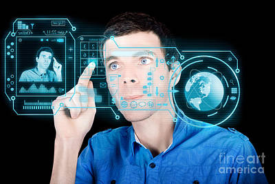 Young Man Using Futuristic Virtual Interface Poster