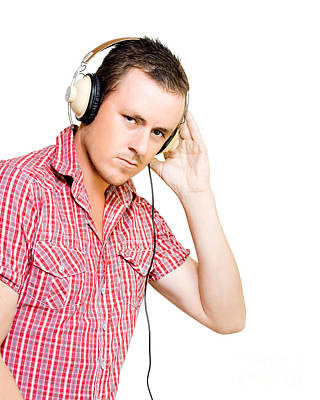 Young Man Wearing Headphones Poster