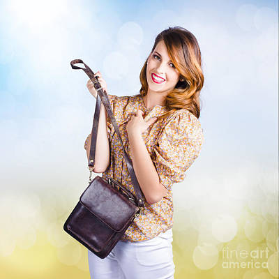 Young Retro Fashion Model Holding Leather Handbag Poster by Jorgo Photography - Wall Art Gallery