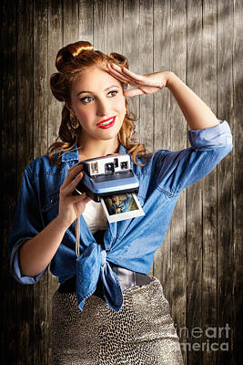 Young Retro Woman Holding Instant Camera Poster