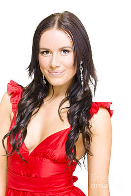 Young Sexy Woman With Brunette Hair In Red Dress Poster