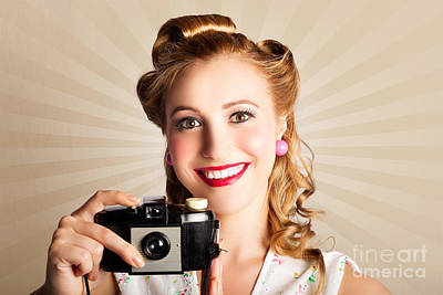 Young Smiling Vintage Girl Taking Photo Poster