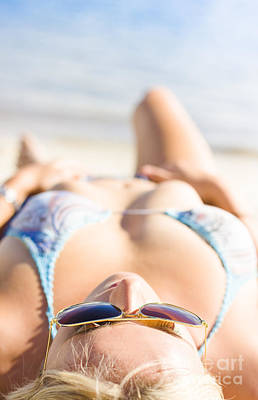 Young Sun Tanning Lady Wearing Sunglasses At Beach Poster by Jorgo Photography - Wall Art Gallery