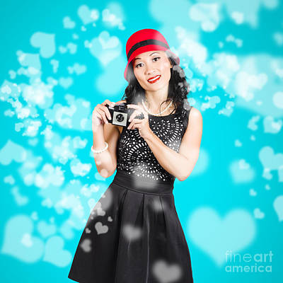 Young Woman Holding Retro Camera On Blue Poster by Jorgo Photography - Wall Art Gallery