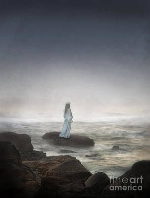 Young Woman In Vintage Dress By The Sea Poster