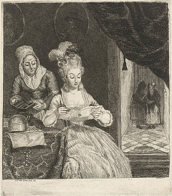 Young Woman Reading A Letter, Louis Bernard Coclers Poster by Louis Bernard Coclers