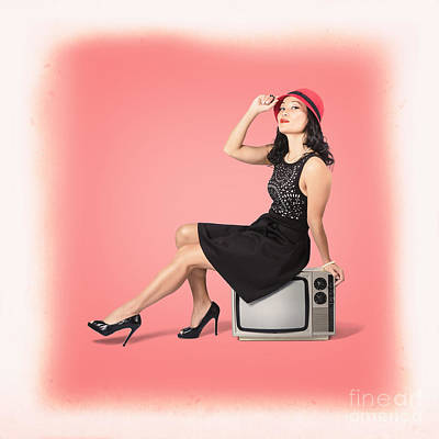 Young Woman Sitting On Old Tv Set Poster