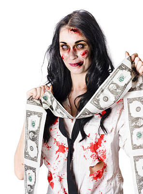 Zombie Banker With Forged American Dollars Poster