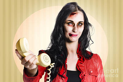 Zombie Business Person Handing Over Bad News Phone Poster by Jorgo Photography - Wall Art Gallery