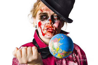 Zombie Holding Knife In Globe Poster by Jorgo Photography - Wall Art Gallery
