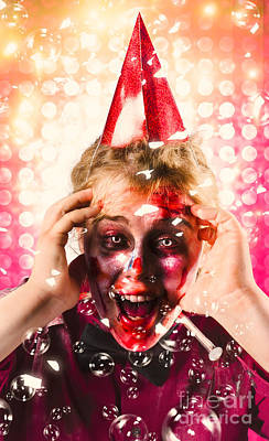 Zombie In Party Hat. Halloween Party Celebration Poster