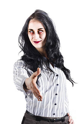Zombie Offers Her Hand Poster