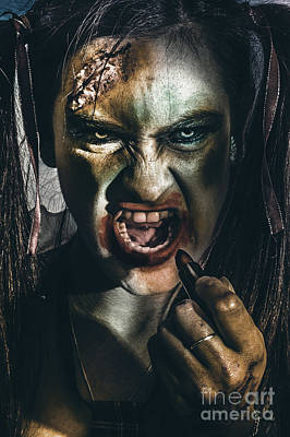 Zombie Prom Queen Woman Putting On Lipstick Makeup Poster by Jorgo Photography - Wall Art Gallery