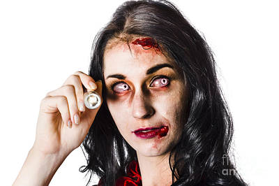 Zombie Woman Holding Flashlight On White Poster by Jorgo Photography - Wall Art Gallery
