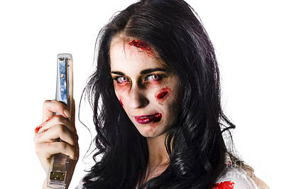 Zombie Woman With Stapler Poster by Jorgo Photography - Wall Art Gallery