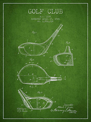 Golf Club Patent Drawing From 1926 Poster by Aged Pixel