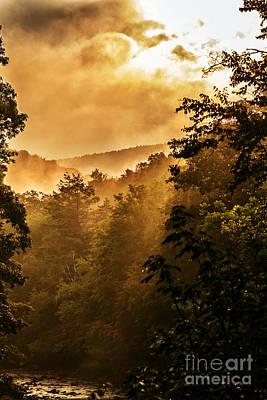 Misty Mountain Sunrise Poster
