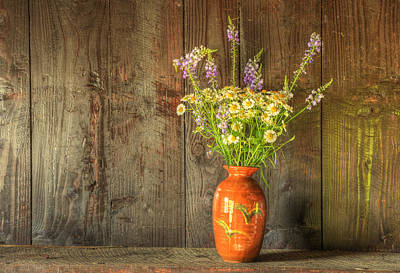 Retro Style Still Life Of Dried Flowers In Vase Against Worn Woo Poster