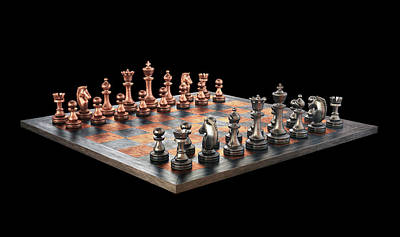 Chess Board And Pieces Poster by Ktsdesign
