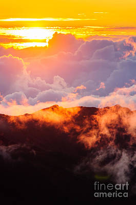 Clouds At Sunrise Over Haleakala Crater Maui Hawaii Usa Poster