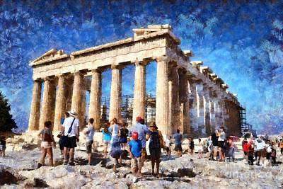 Tourists In Acropolis Of Athens In Greece Poster