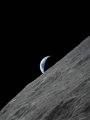Earthrise Over The Moon Poster
