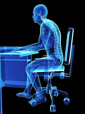 Person Sitting With Incorrect Posture Poster