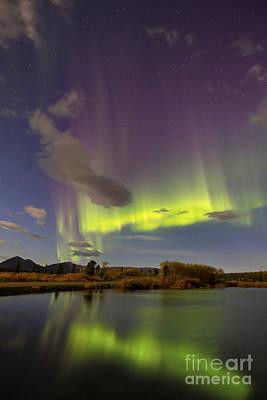 Aurora Borealis With Moonlight At Fish Poster