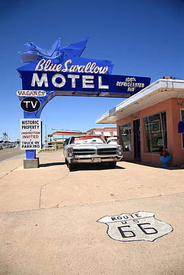 Route 66 - Blue Swallow Motel Poster by Frank Romeo