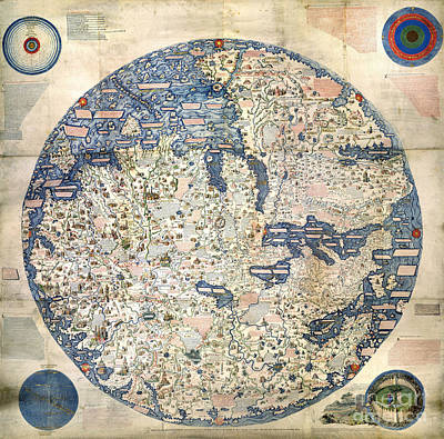 World Map By Fra Mauro - 1458 Poster by Pablo Romero