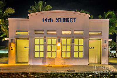 14th Street Art Deco Toilet Block Sobe Miami Poster by Ian Monk