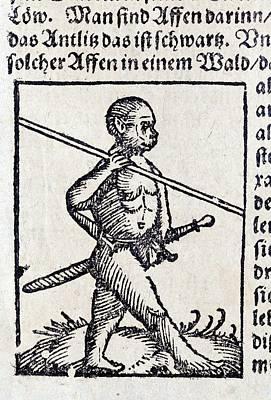 1560 Wild Man Homo Monkey Warrior Poster