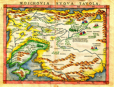 1574 Ruscelli Map Of Russia Muscovy  And Ukraine Geographicus Moschovia Porcacchi 1572 Poster by MotionAge Designs