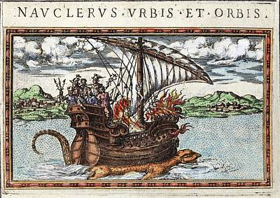 1588 Sea Monster Dragon Seen Under Ship Poster